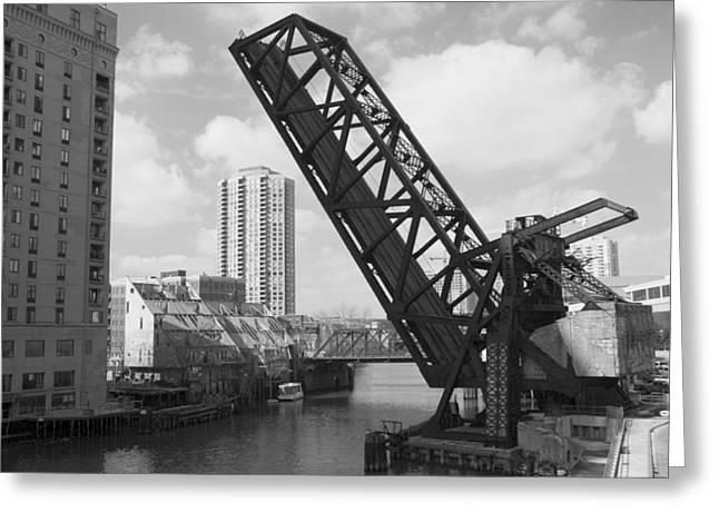 Train Bridge Greeting Cards - Chicago movable bridge Greeting Card by Patrick  Warneka
