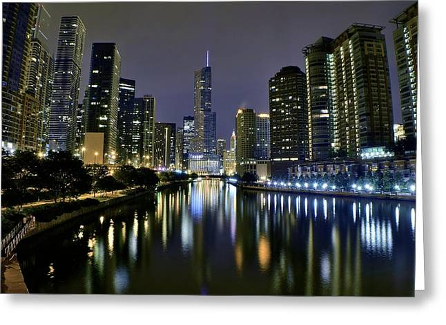 Chicago Night Lights Greeting Card by Frozen in Time Fine Art Photography