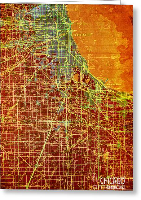 print Mixed Media Greeting Cards - Chicago Old Map Greeting Card by Pablo Franchi