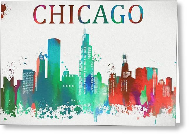 Chicago Paint Splatter Greeting Card by Dan Sproul
