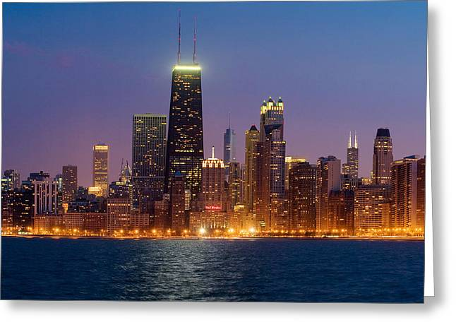 Chicago Reflections Greeting Cards - Chicago Panorama Greeting Card by Donald Schwartz