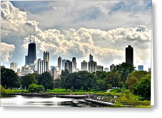 Chicago Bulls Greeting Cards - Chicago Panorama over Lincoln Park Greeting Card by Frozen in Time Fine Art Photography