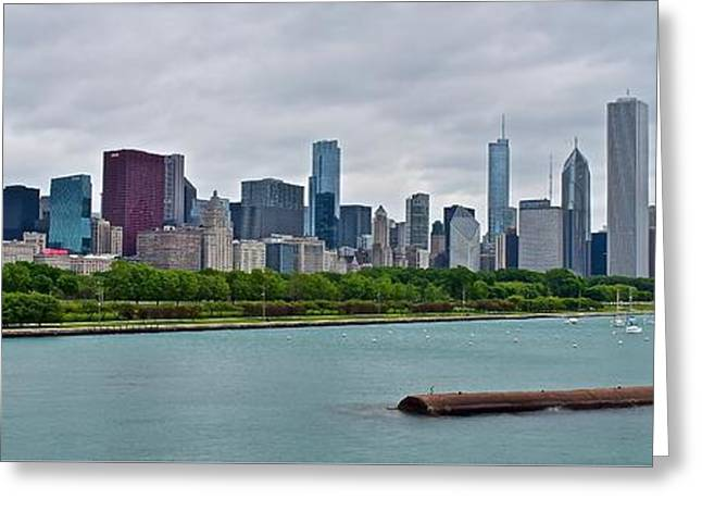 Chicago Bulls Greeting Cards - Chicago Panoramic Along Lake Michigan Greeting Card by Frozen in Time Fine Art Photography
