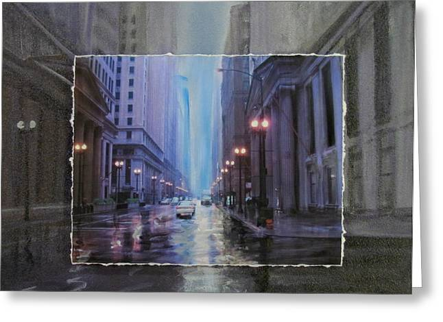 Lamp Post Mixed Media Greeting Cards - Chicago Rainy Street expanded Greeting Card by Anita Burgermeister