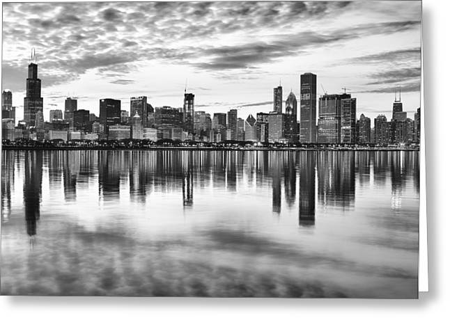 White Digital Greeting Cards - Chicago Reflection Greeting Card by Donald Schwartz