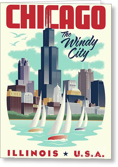 Chicago Skyline Art Greeting Cards - Chicago Retro Travel Poster Greeting Card by Jim Zahniser