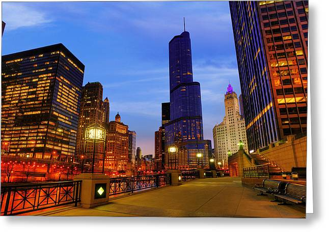 River View Greeting Cards - Chicago River and Towers Greeting Card by Donald Schwartz
