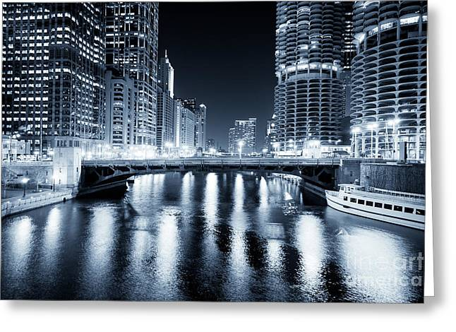 Marina Night Greeting Cards - Chicago River at State Street Bridge Greeting Card by Paul Velgos