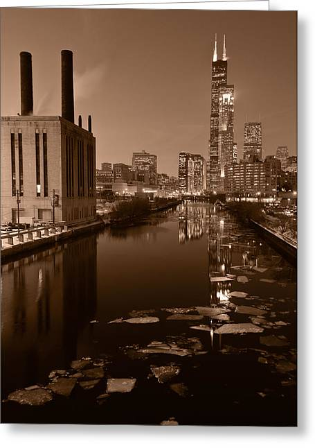 Winter Night Greeting Cards - Chicago River B and W Greeting Card by Steve Gadomski