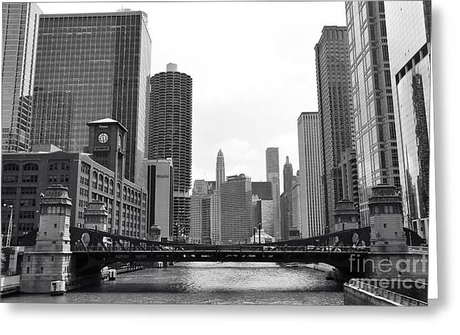 Modern Photographs Greeting Cards - Chicago River black and white Greeting Card by Michael Paskvan