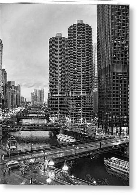 City Canal Greeting Cards - Chicago River Bridges Greeting Card by Tammy Wetzel