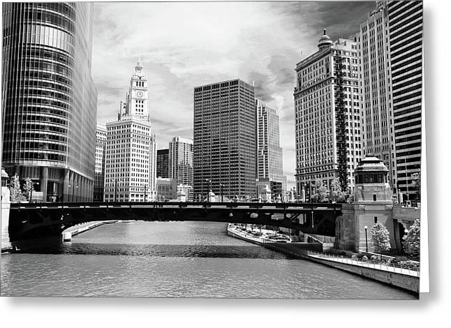 Chicago River Buildings Skyline Greeting Card by Paul Velgos