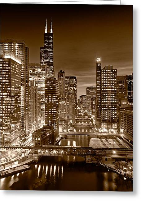 Midwest Greeting Cards - Chicago River City View B and W Greeting Card by Steve gadomski