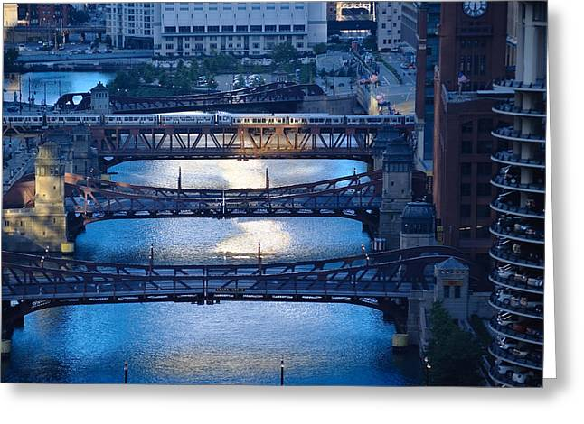 Train Bridges Greeting Cards - Chicago River First Light Greeting Card by Steve Gadomski