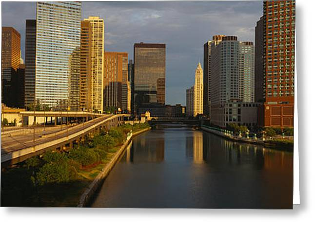 Central Illinois Greeting Cards - Chicago River From Lake Shore Drive Greeting Card by Panoramic Images