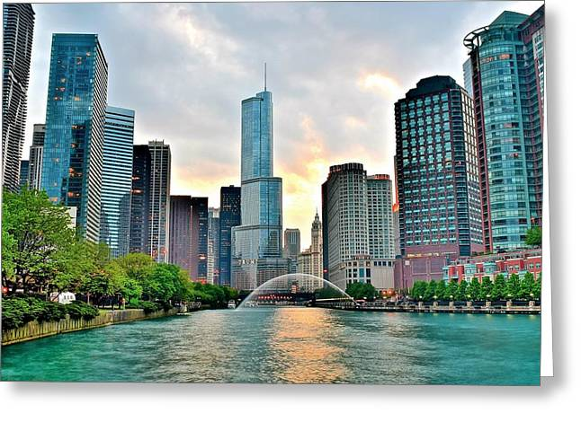 Chicago River View At Dusk Greeting Card by Frozen in Time Fine Art Photography
