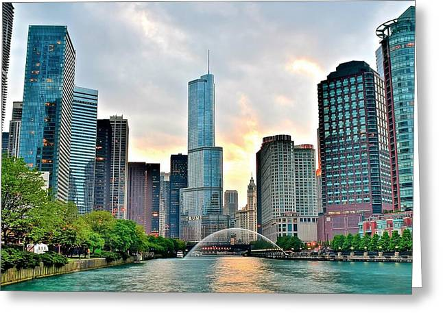 The Bean Greeting Cards - Chicago River View at Sunset Greeting Card by Frozen in Time Fine Art Photography