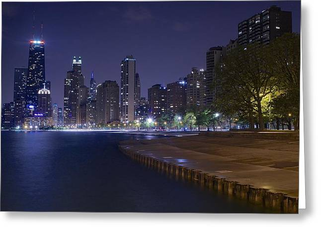 Monochrome Greeting Cards - Chicago River View Greeting Card by Frozen in Time Fine Art Photography