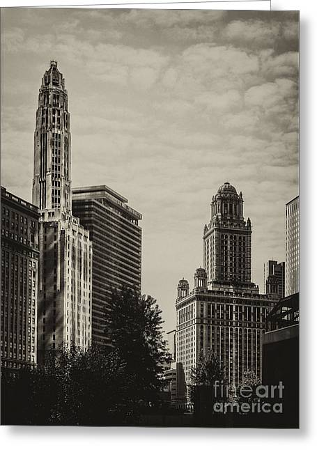 City Buildings Greeting Cards - Chicago Riverside Greeting Card by Andrew Paranavitana