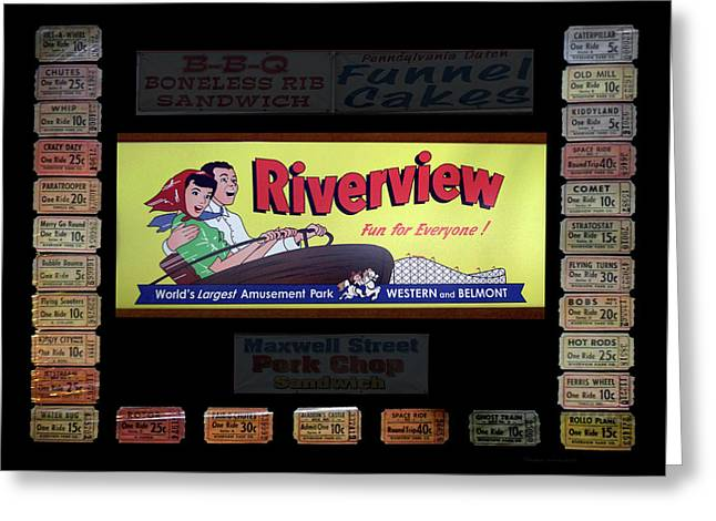 Chicago Riverview Park Fun For Everyone Signage Greeting Card by Thomas Woolworth
