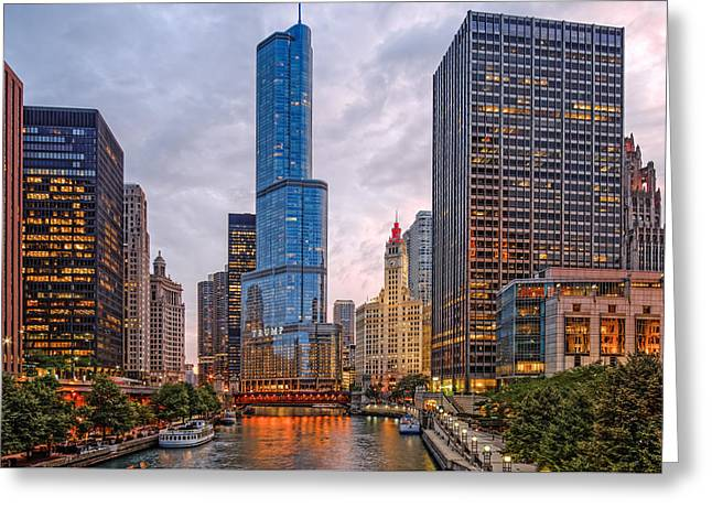 Chicago Riverwalk Equitable Wrigley Building And Trump International Tower And Hotel At Sunset  Greeting Card by Silvio Ligutti