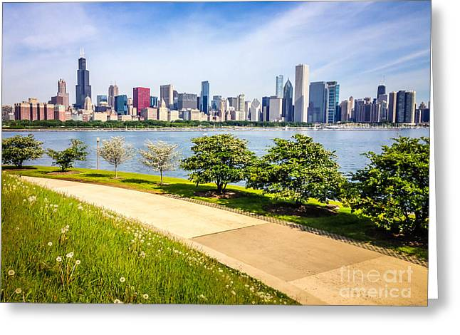 Outside Pictures Greeting Cards - Chicago Skyine and Lakefront Trail Greeting Card by Paul Velgos