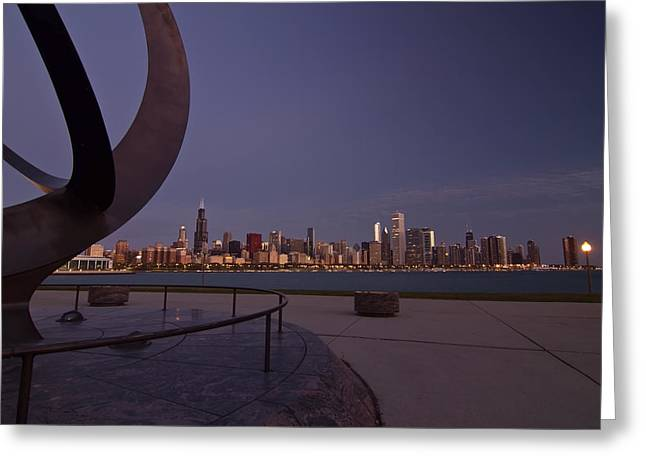 Chicago Circle Greeting Cards - Chicago skyline at dawn Greeting Card by Sven Brogren