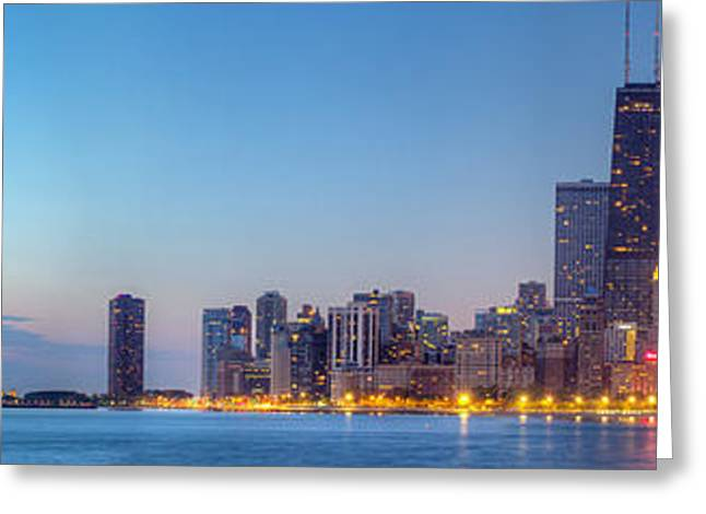 North Shore Greeting Cards - Chicago Skyline at Dawn Greeting Card by Twenty Two North Photography