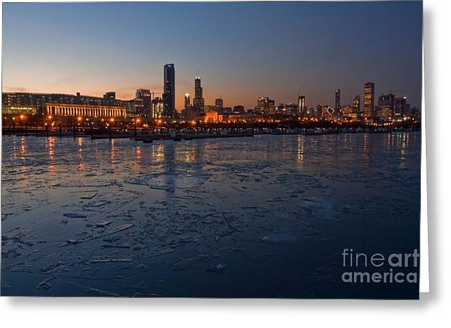 Chicago Greeting Cards - Chicago skyline at Dusk Greeting Card by Sven Brogren