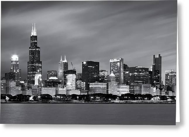 Chicago Skyline At Night Black And White  Greeting Card by Adam Romanowicz