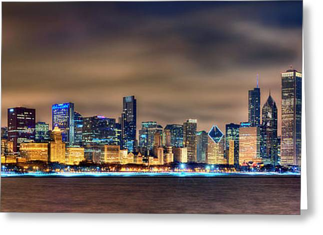 Panorama Greeting Cards - Chicago Skyline at NIGHT Panorama Color 1 to 3 Ratio Greeting Card by Jon Holiday
