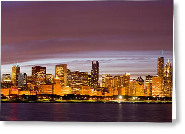 Planetarium Greeting Cards - Chicago Skyline at Night Greeting Card by Twenty Two North Photography