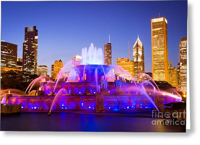 Spraying Greeting Cards - Chicago Skyline at Night with Buckingham Fountain Greeting Card by Paul Velgos