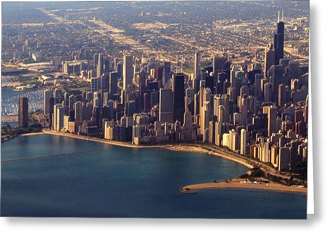 Ariel Greeting Cards - Chicago Skyline August 2009 Greeting Card by Joseph G Holland