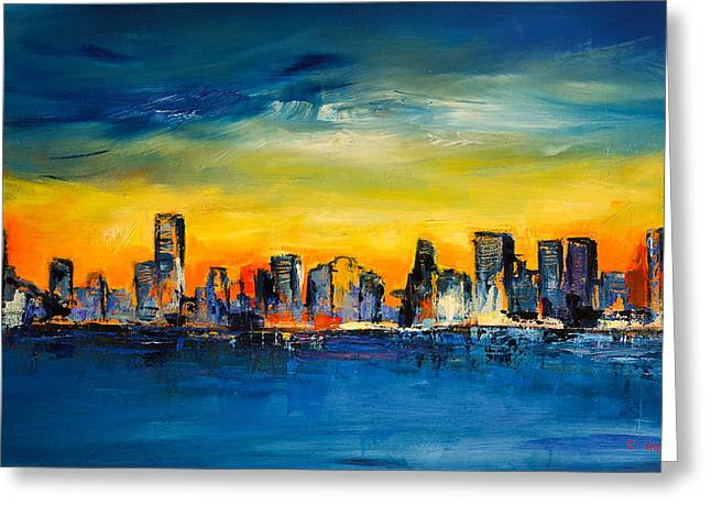 Fauvism Greeting Cards - Chicago Skyline Greeting Card by Elise Palmigiani