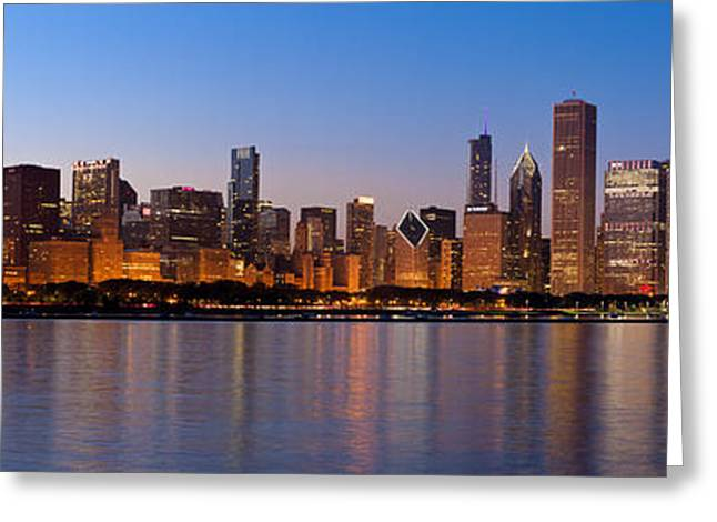 Panorama Greeting Cards - Chicago Skyline Evening Greeting Card by Donald Schwartz