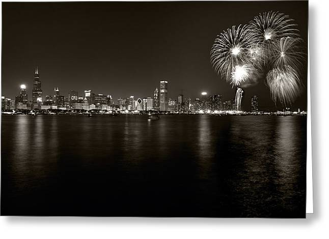 Chicago Skyline Fireworks BW Greeting Card by Steve Gadomski