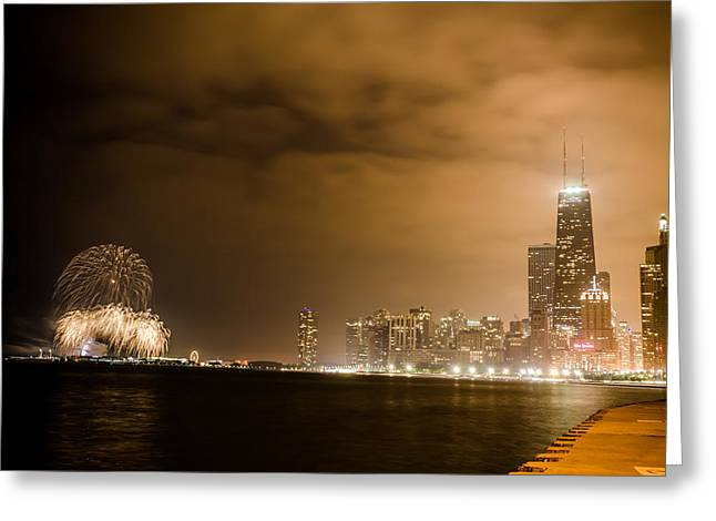 4th July Photographs Greeting Cards - Chicago Skyline Fireworks Finale Greeting Card by Anthony Doudt