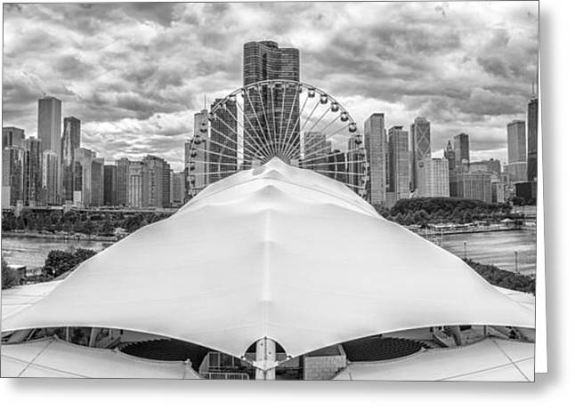 Chicago Skyline From Navy Pier Black And White Greeting Card by Adam Romanowicz