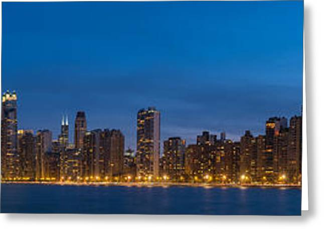 Chicago Skyline From North Ave Beach Panorama Greeting Card by Steve Gadomski