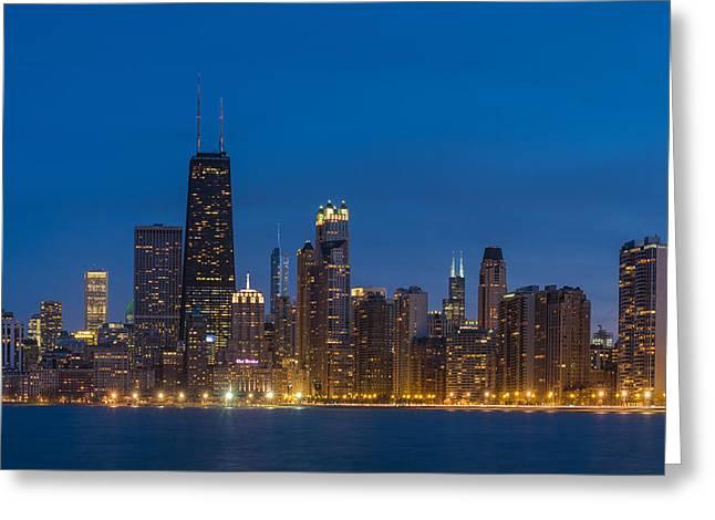 Chicago Skyline From North Ave Beach Greeting Card by Steve Gadomski