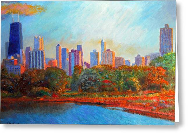 Chicago Skyline From The Lagoon Greeting Card by Michael Durst