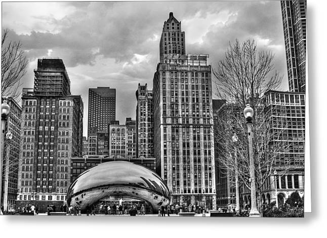 Chi Town Greeting Cards - Chicago Skyline in Black and White Greeting Card by Tammy Wetzel