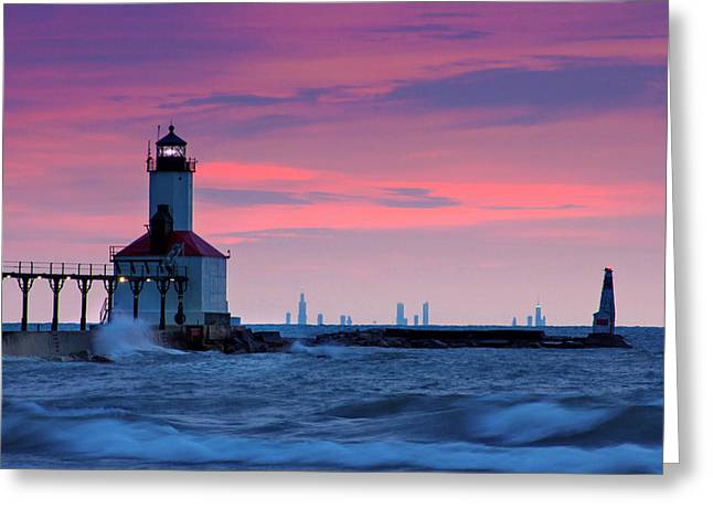 Indiana Landscapes Greeting Cards - Chicago Skyline Lighthouse Greeting Card by Jackie Novak