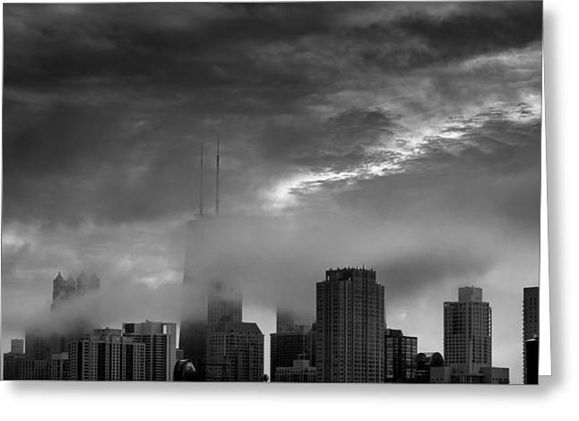 John Hancock Tower Greeting Cards - Chicago Skyline Storm B W Greeting Card by Steve Gadomski
