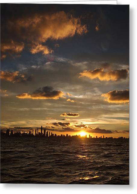 Chicago Skyline Sunset Greeting Card by Steve Gadomski