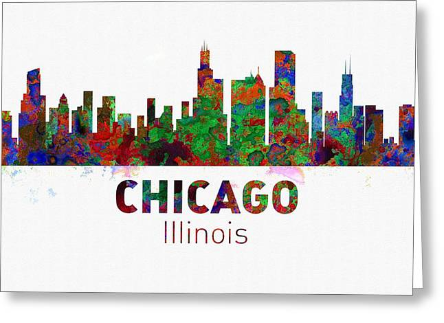Seattle Skyline Greeting Cards Greeting Cards - Chicago Skyline - Usa City Greeting Card by Michael Vicin