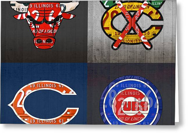 Chicago Sports Fan Recycled Vintage Illinois License Plate Art Bulls Blackhawks Bears And Cubs Greeting Card by Design Turnpike