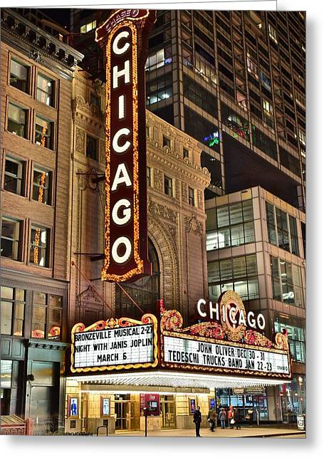 Chicago Theater Alight Greeting Card by Frozen in Time Fine Art Photography