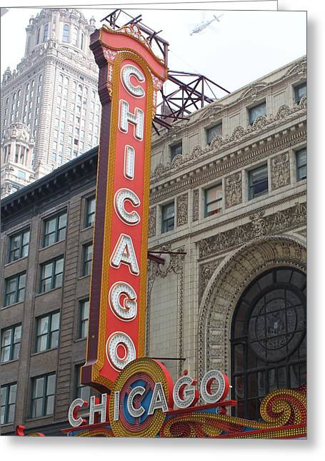 Signed Photographs Greeting Cards - Chicago Theater Sign Greeting Card by Lauri Novak
